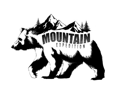 Mountain Expedition procreate bear mountain travel story design clean characters illustration