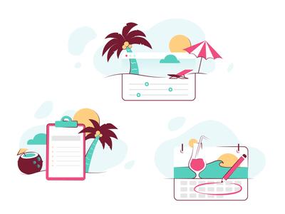 Vacation planning Illustrations sea sand sun palm tree vacation sumer ui branding design story clean illustrator illustration