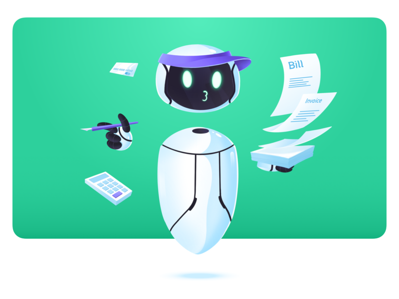 Tivano- Invoice bot branding floating invoice assistant robot robotic office managment prototype product design onbording app design procreate characters illustration