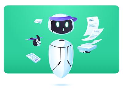 Tivano- Invoice bot branding floating invoice assistant robot robotic office managment prototype product design onbording app design procreate characters illustration