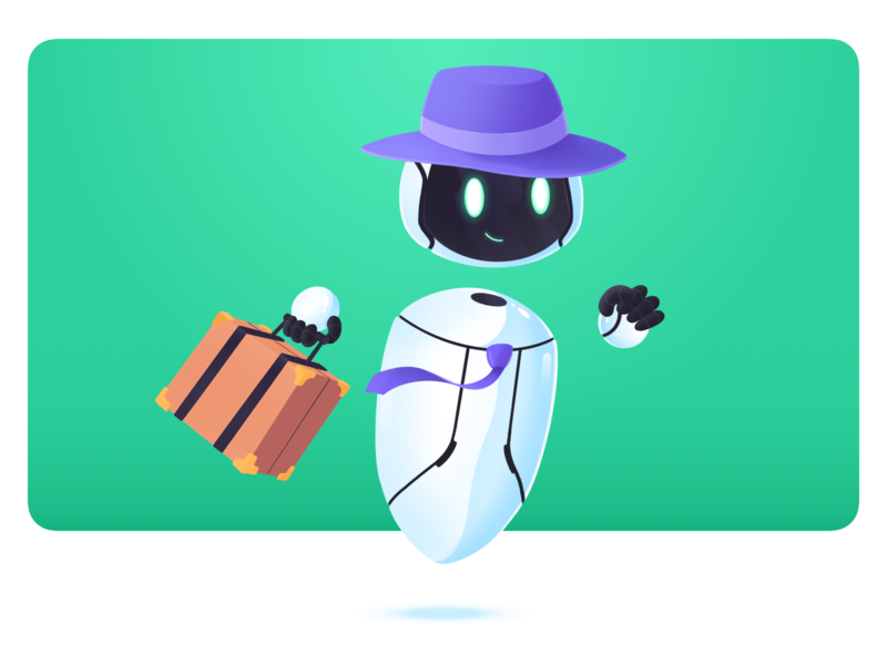 Tivano- Delegation bot trips business manager office work travel travelling ai help robot procreate branding design story clean characters illustration