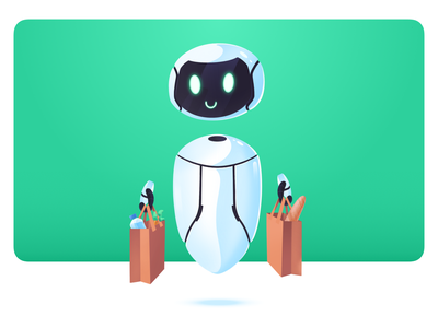 Tivano-  Shopping Bot assistant shopping procreate branding clean characters illustration