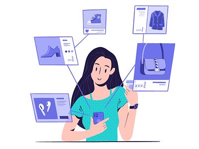 Shoptagr- Discovering technology fashion app socialmedia shoping design procreate characters illustration