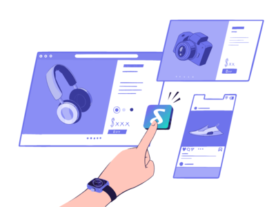 Shoptagr- Saving technology ecommerce product shoping procreate illustration