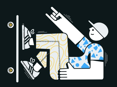 Sk8er boi skateboard procreate design clean characters illustration