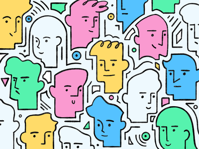 Heads shapes geometric patern color texture procreate design story characters illustration