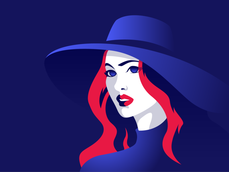 Lady in hat redlips makeup hat fashion vectors design story illustrator clean characters illustration