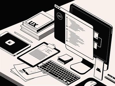 App'n'roll – home illustration isometric isometry web ux ui clean books vector illustrator branding illustration