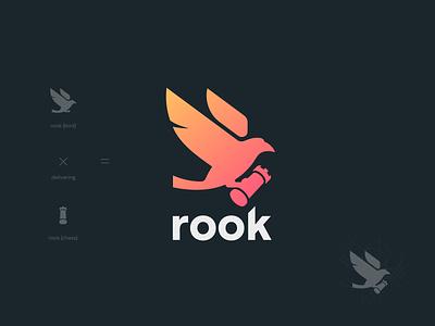 rook logo crow rook chess logo design boardgames games bird geometric visual identity brand identity brand design branding logo