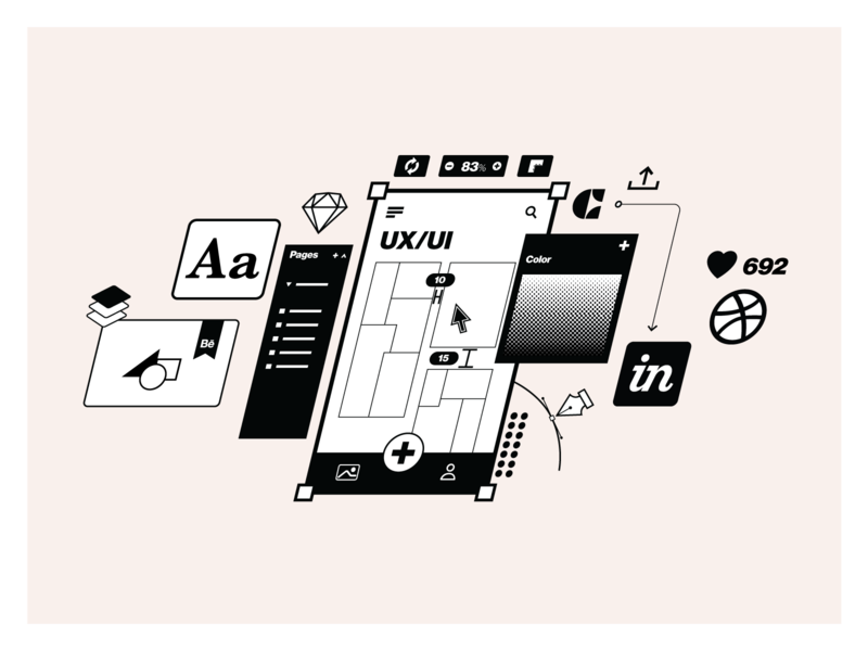 App'n'roll – services illustrations pixel perfect craft dribbble sketch linear mobile develpment ui ux services branding illustrator clean illustration