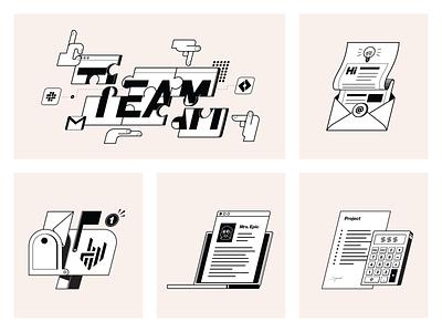 ANR - Contact and team notification mailbox calculator newsletter teamwork team branding illustrator design illustration