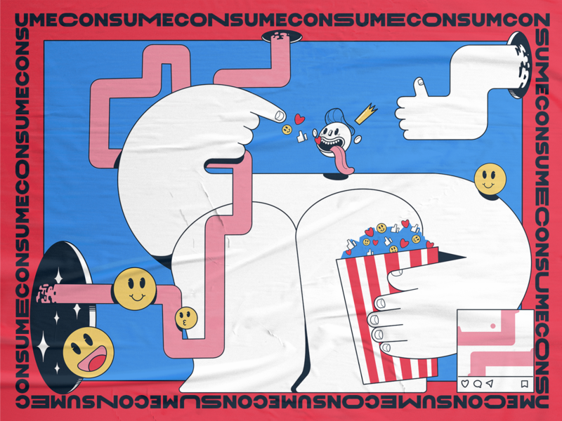 CONSUME eerie concept socialdilema mindfulness mindful socialmedia consumerism consume procreate story characters illustration