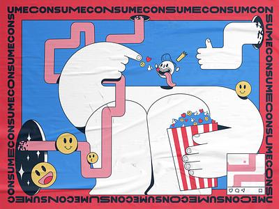 CONSUME eerie concept socialdilema mindfulness mindful socialmedia consumerism consume procreate story characters illustration