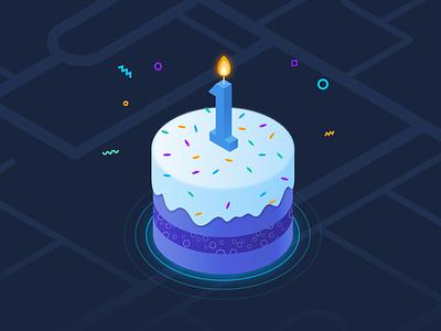 vooom SM - first birthday startup celebration birthday birthday cake vectors illustrator clean illustration
