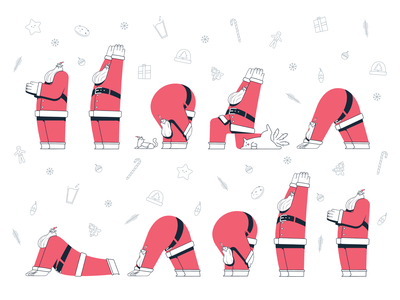 Season's Salutations presents gingerbread man christmas clean procreate vectors illustrator characters illustration santa claus holiday card holidays meditation zen yoga santa