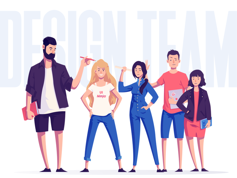 Design Team clean vectors illustrator characters illustration