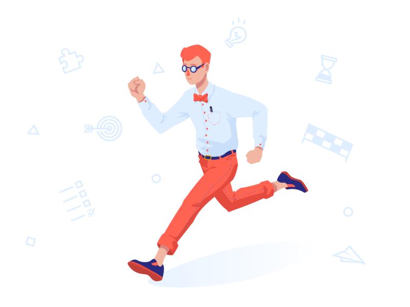 Running Towards Goals books story go check list ui ideas task management goals design vectors illustrator characters illustration