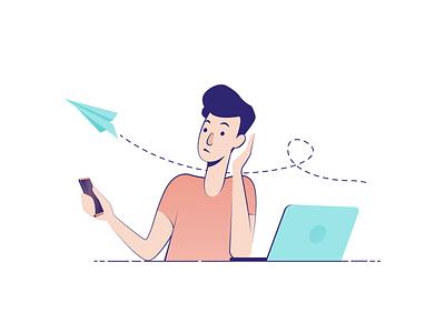 Mudita Illustrations distractions digital detox clean story vectors illustrator characters illustration