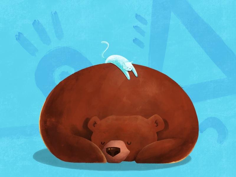 Winter nap time books story geometric textured procreate app cute animals sleeping cat bear characters illustration