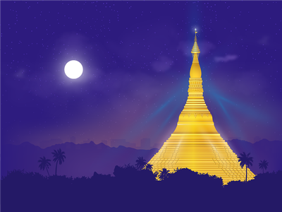Shwedagon Pagoda, night landscape illustration vector illustration
