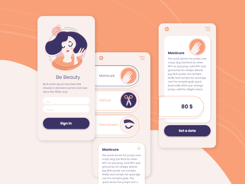 Be beauty App app design app web illustration