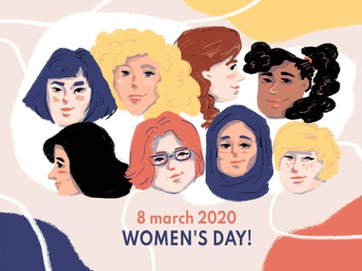 Women's day colorful woman day portrait womans work people illustration