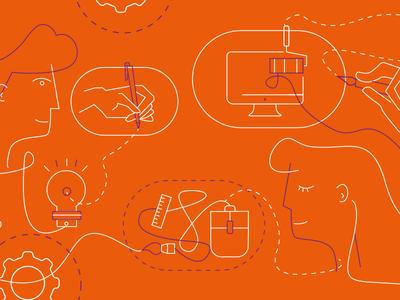 Work design people creation web illustration