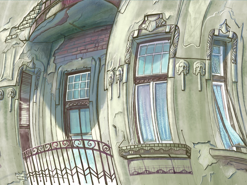 Max Bruch eastern europe timisoara romania heritage ornaments deteriorating city green procreate windows balcony old building facade ornamentation digital illustration architechture