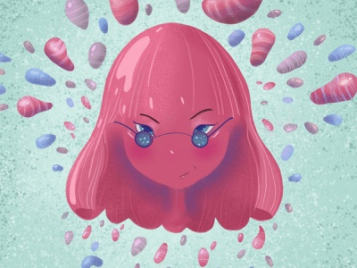 Jellybean Lucy lucy character procreate asian jelly bean pink glossy candycane digital illustration