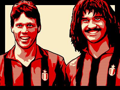 Gli Invincibili football legend van basten gullit ac milan milan red black calcio serie a illustration obey obama