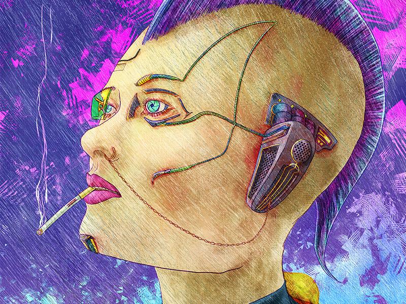 Cyberpunk in Rain augmented chain purple portrait rain mohawk cigarette sci-fi digital painting cyberpunk