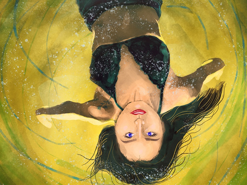 Floating Woman digital painting illustration watercolor light backlight upside down water floating woman
