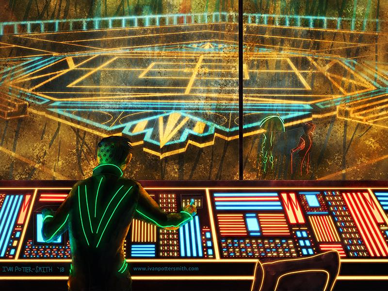 Control Room controls control room slums illustration sci-fi sprawl city neon digital painting cyberpunk