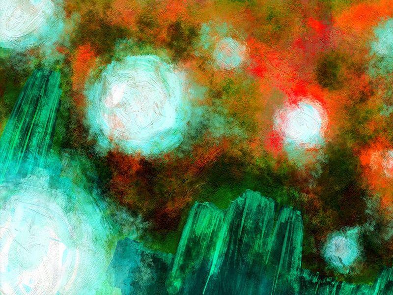 Abstract Landscape fine art art impasto oil emerald sky balls lights floating landscape