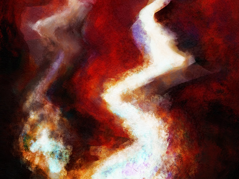 Hell Bursts fire hell painting digital digital painting fine art abstract impasto oil