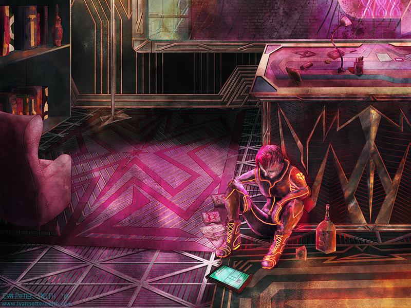 Mourning art illustration high contrast lights neon melancholy loss sad night apartment sci-fi cyberpunk