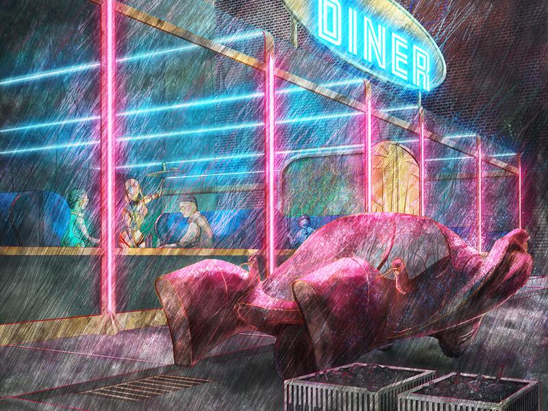 Diner at Night car illustration urban diner sci-fi sprawl city neon digital painting cyberpunk