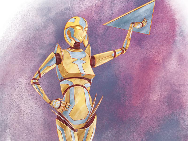Robot Waitress retro futurism future retro metal purple silver gold sci-fi watercolor digital waitress robot