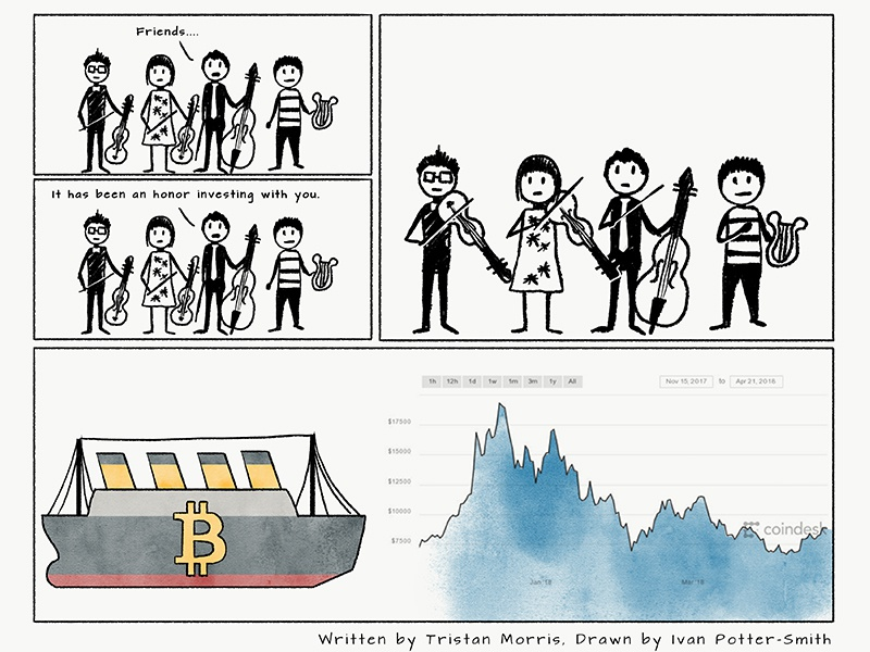 Over The Air - OTA Comic watch out going down orchestra music musicians funny iceberg bitcoin titanic silicon valley illustration webcomic