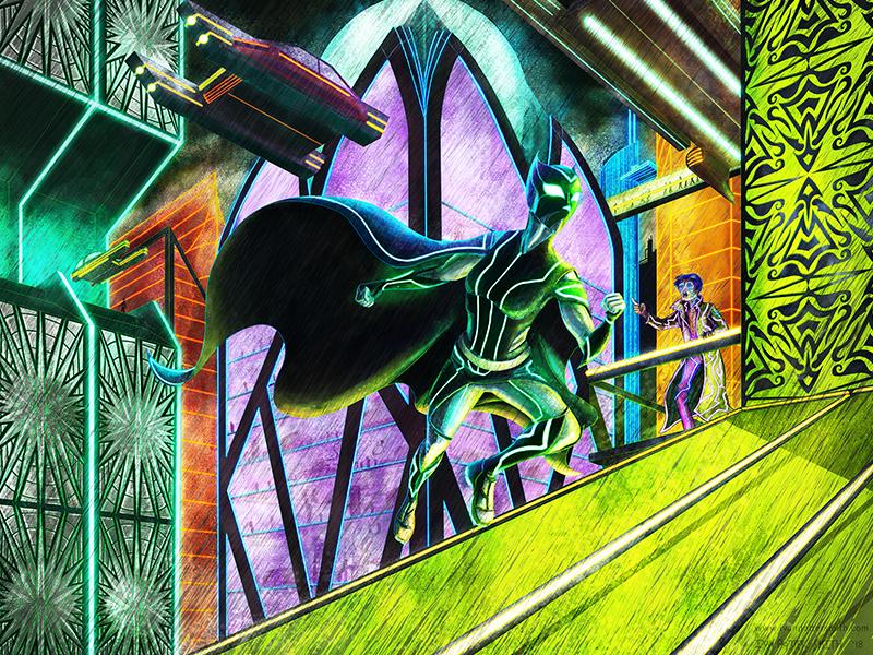 Rooftops illustration future flying cars city cyberpunk sci-fi neon night