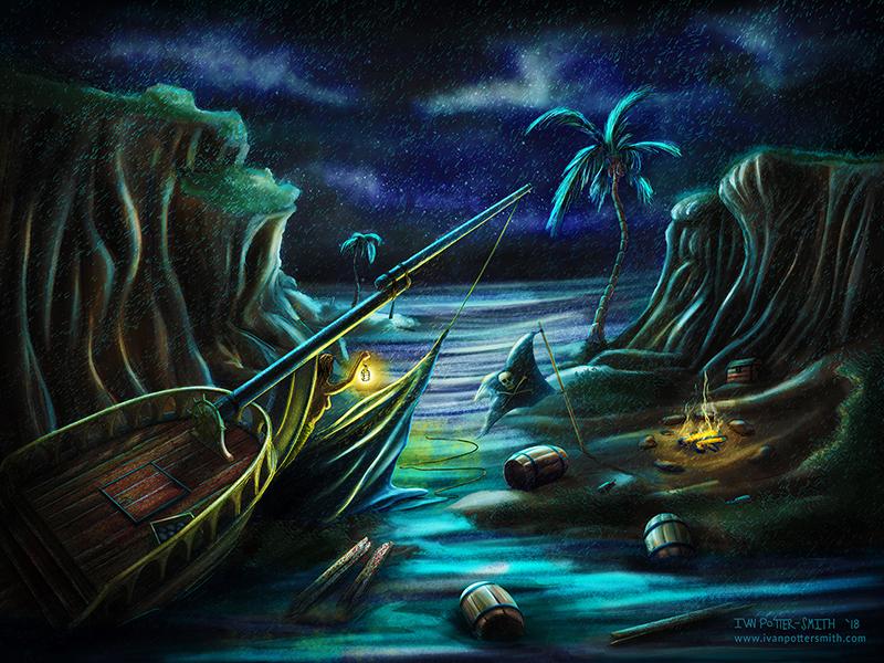 Shipwrecked! environment campfire cove ocean shipwreck pirate conceptart night illustration