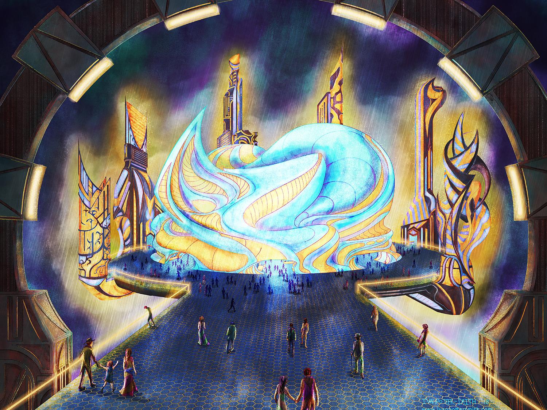 Opera House sci-fi art sprawl lights urban illustration buildings city neon digitalpainting rain night scifi cyberpunk opera