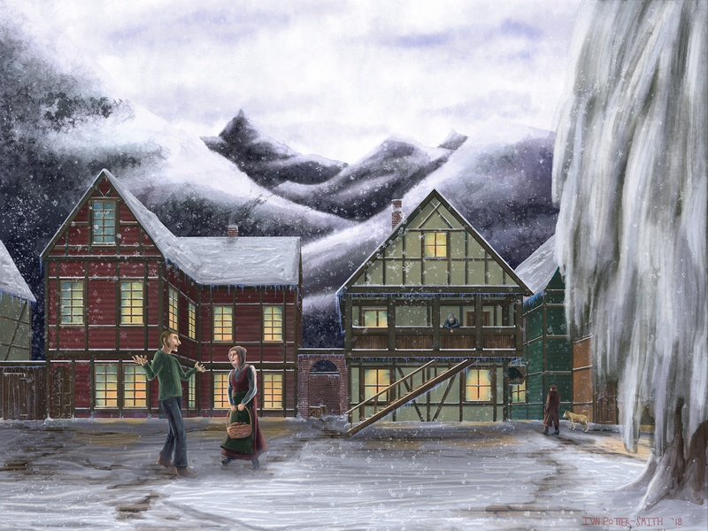 Town Square square town town square cold low contrast snow norway painting illustration