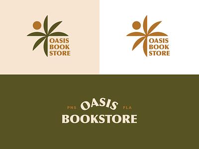 Oasis Bookstore Logo design tree florida pensacola sun oasis palm tree palm bookstore book typography branding brand mark lettermark vector logomark logotype logo graphic design