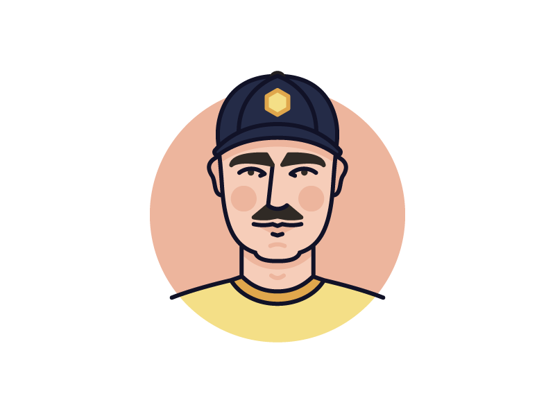 Me mustache icon line monoline illustration person man avatar