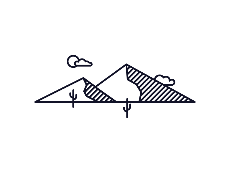 Desert Mountains mountains cactus desert arizona illustration monoline line