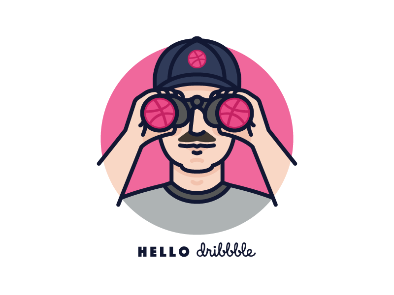 Hello Dribbble! dribbble debut binoculars hello mustache dribbble icon line monoline illustration person man avatar