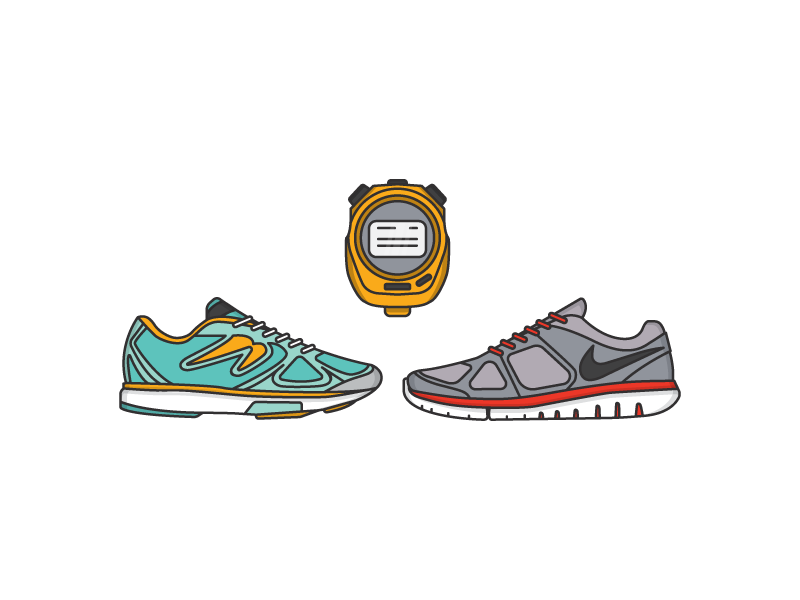 Running stopwatch newton nike shoes run illustration monoline line icon