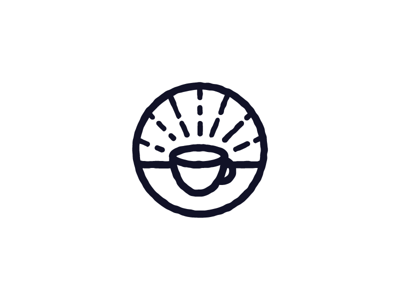 Holy Grounds branding icon monoline line holy coffee shop coffee logo illustration