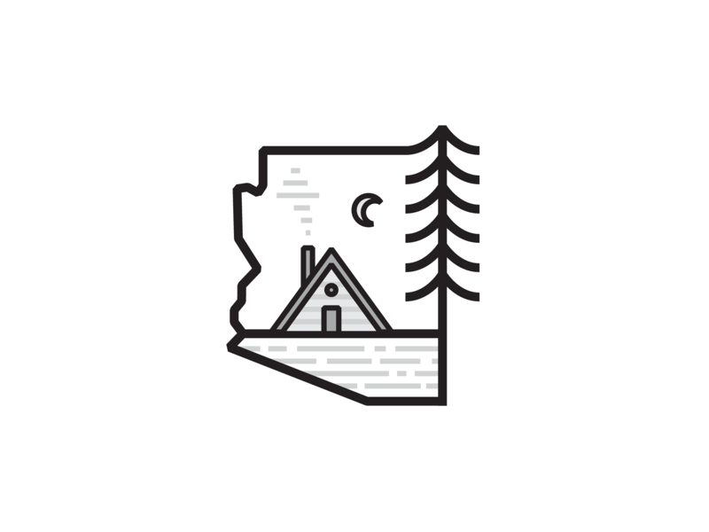 Cabin in the Pines state az line illustration a-frame night home arizona pine tree cabin